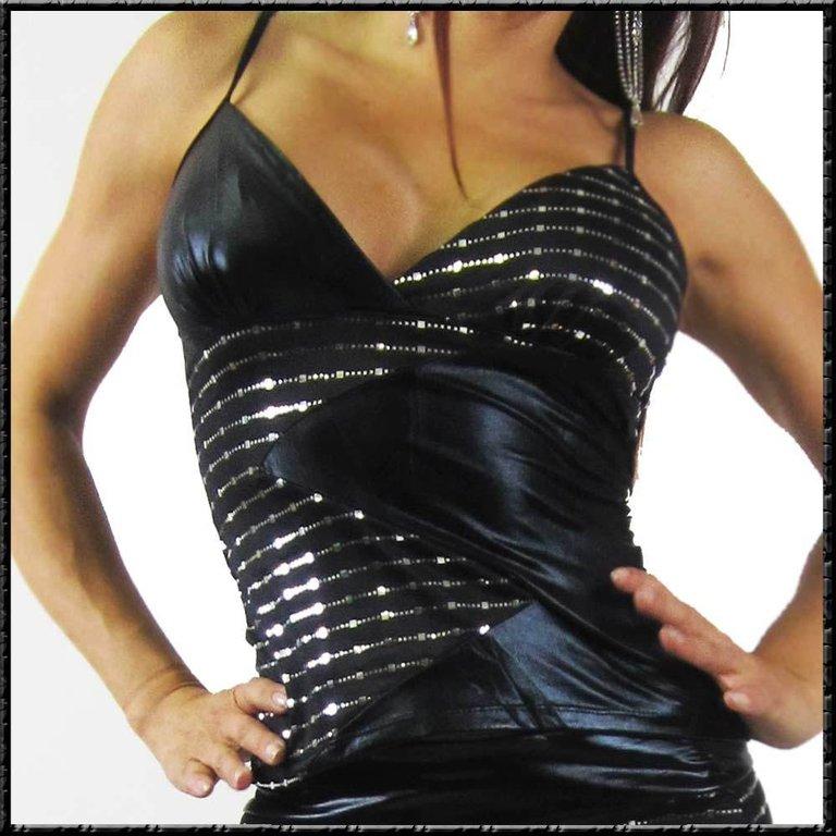 Spagetti-Traeger-glamour-Top-WETLOOK-Einsatz-schwarz-silber-glitzer-KEIN-LACK