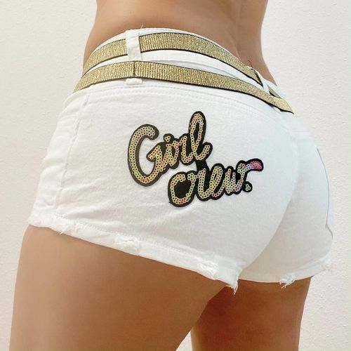 "Weiss Gold Jeans Hotpants mit "" Girl Crew "" Patch  Marke Crazy-Chris 34-38"