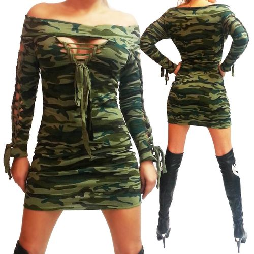 Riss Minikleid Longshirt hot grün Army Dress tarnfarben Camouflage