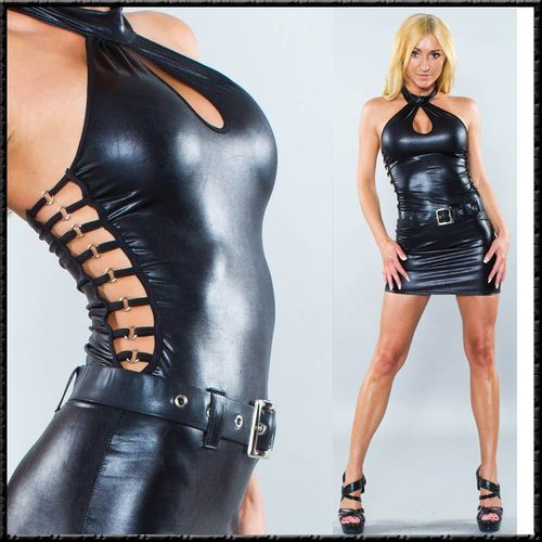 sexy Bondgirl Sexy Kleid Wetlook hot Dress glänzend schwarz dominant