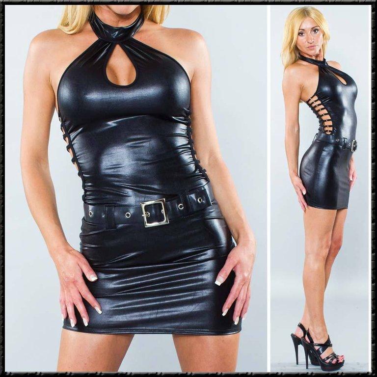 Bondgirl Wetlook Hot Dress Dominant Schwarz Sexy Kleid Glänzend VSMUzpqG