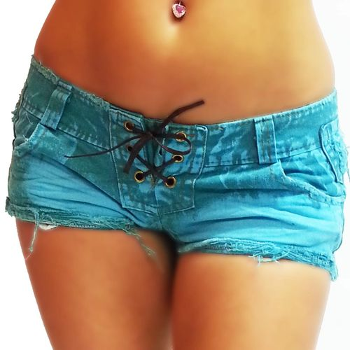 Crazy Hotpants Schlange Jeans kurze Hose türkis grün hot Pants low waist