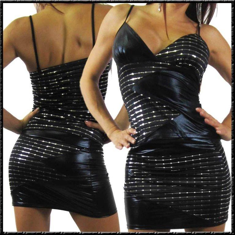 spagetti tr ger glamour top wetlook einsatz schwarz silber. Black Bedroom Furniture Sets. Home Design Ideas