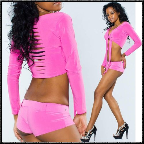 Super STRETCH Hotpants POLDANCE panty table dance pants mit Gürtel pink rosa