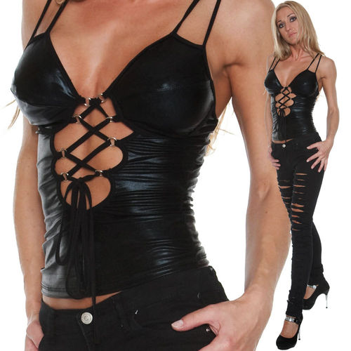 Party Top MiSS SEXY Top schwarz glanz sexy Dekoltee Party Clubwear Bar Wetlook