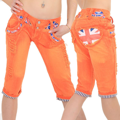 Boyfriend 3/4 Jeans Hose crazy-chris orange Shorts low waist low rise