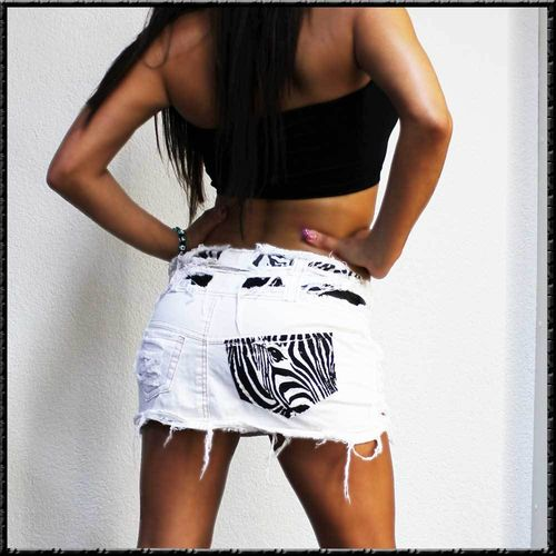 ♥ mini Jeans Rock ♥ weiss Zebra Print crazy vintage skirt jupe XL