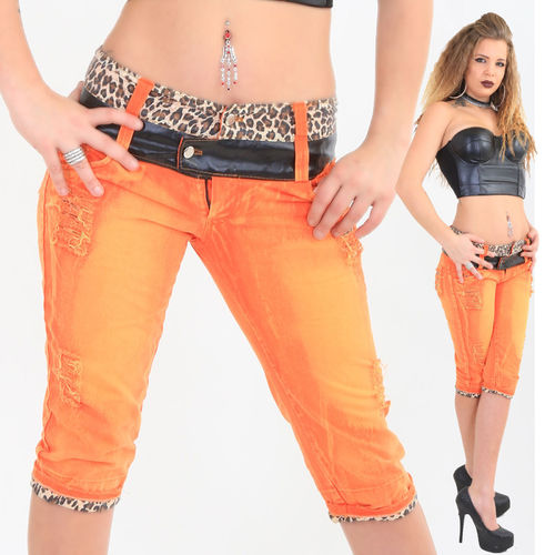 Boyfriend Capri Jeans Hose crazy-chris Vintage orange leopard Kunstleder Shorts