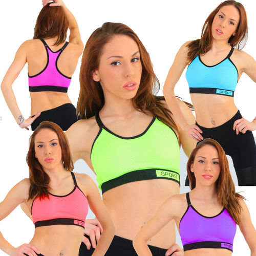 hot Sport BH neon pink gelb blau violett orange Sport fitness tank Top GYM
