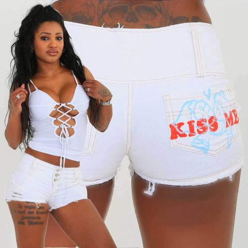weisse Hotpants KISS ME Urlaub Beach Party kurze sexy Pants kurze Hose Crazy