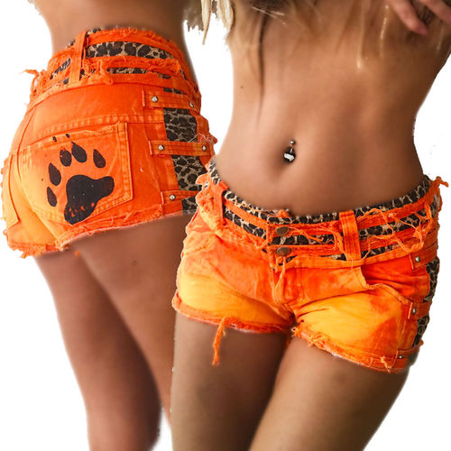 Crazy-Chris hotpants Katze Leopard Pfote hot orange beach Pool Party kurze Hose