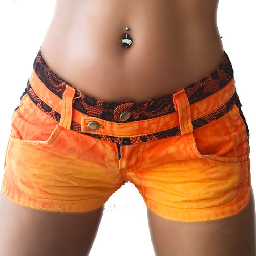 Jeans Hotpants im Sport Look happy orange schwarze Spitze Marke Crazy-Chris Fit