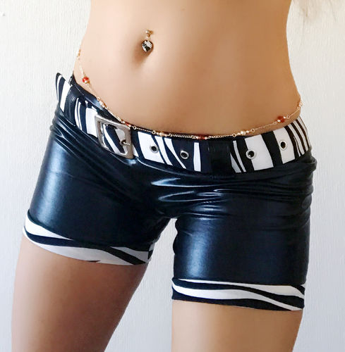 sexy kurze Damen Hotpants S M L XL kurze Hose Stretch Wetlook Zebra Pants