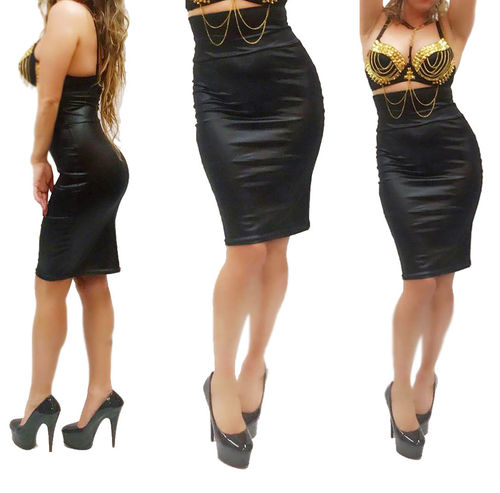 High Waist Bleistift Rock seiden glanz schwarz Classisch Pencil Skirt hoch