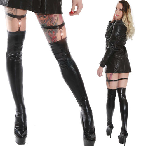 Lack Wetlook Strümpfe Schwarz Schnalle Halterlos leg black Leather Stockings