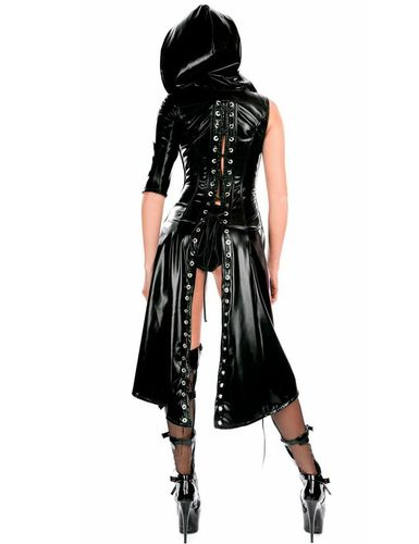 Gothic Punk Wetlook Hooded Coat Gown Dress Sexy Fetisch Mantel hot Dress