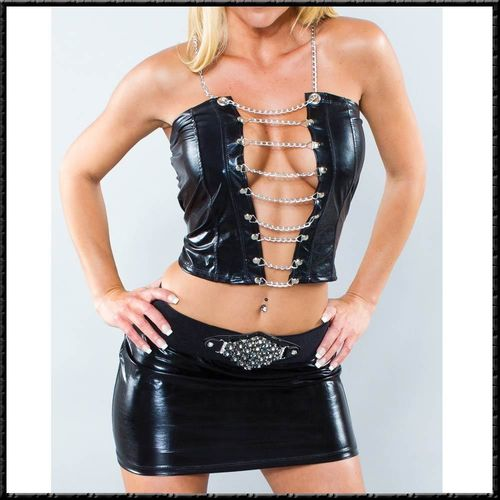 Rock & Top Set Wetlook glanz schwarz Sexy Ausschnitt Kette SM-Design