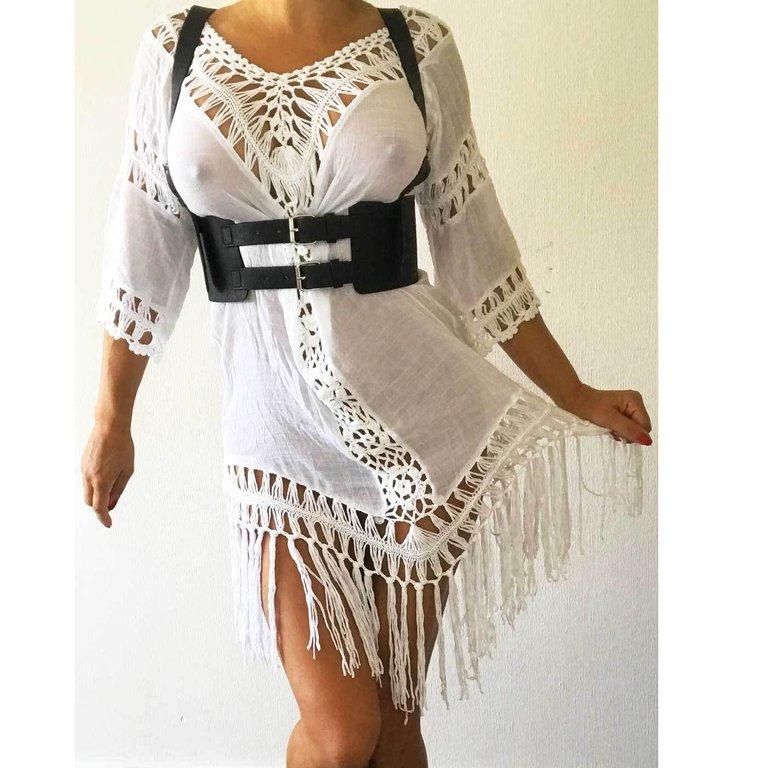 Weites Weisses Strand Kleid Beach Dress Cover Up Fransen Ruckenfrei Carmen