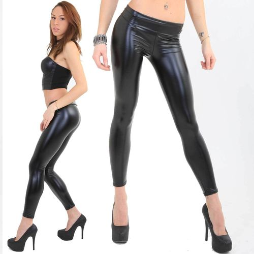Sexy Wetlook Leggings glanz schwarz high waist / low waist erotisch