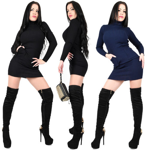 Longshirt warmes Kleid Strickkleid Rolli Rollkragen Dress blau schwarz