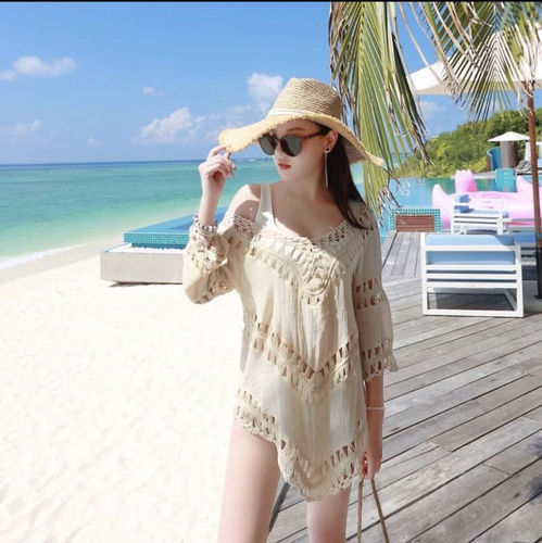 luftig weite weiss Sommer Bluse Boho Beach Cover Up Strandkleid Tunika