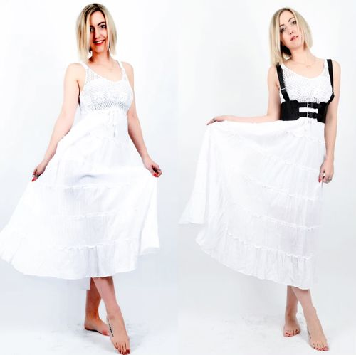 langes weisses Sommerkleid Häckel Baumwoll Dress white Boho