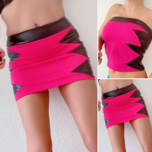 Pink Top / Mini Rock Wetlook Marke SM-Design Sexy skirt jupe S M L XL