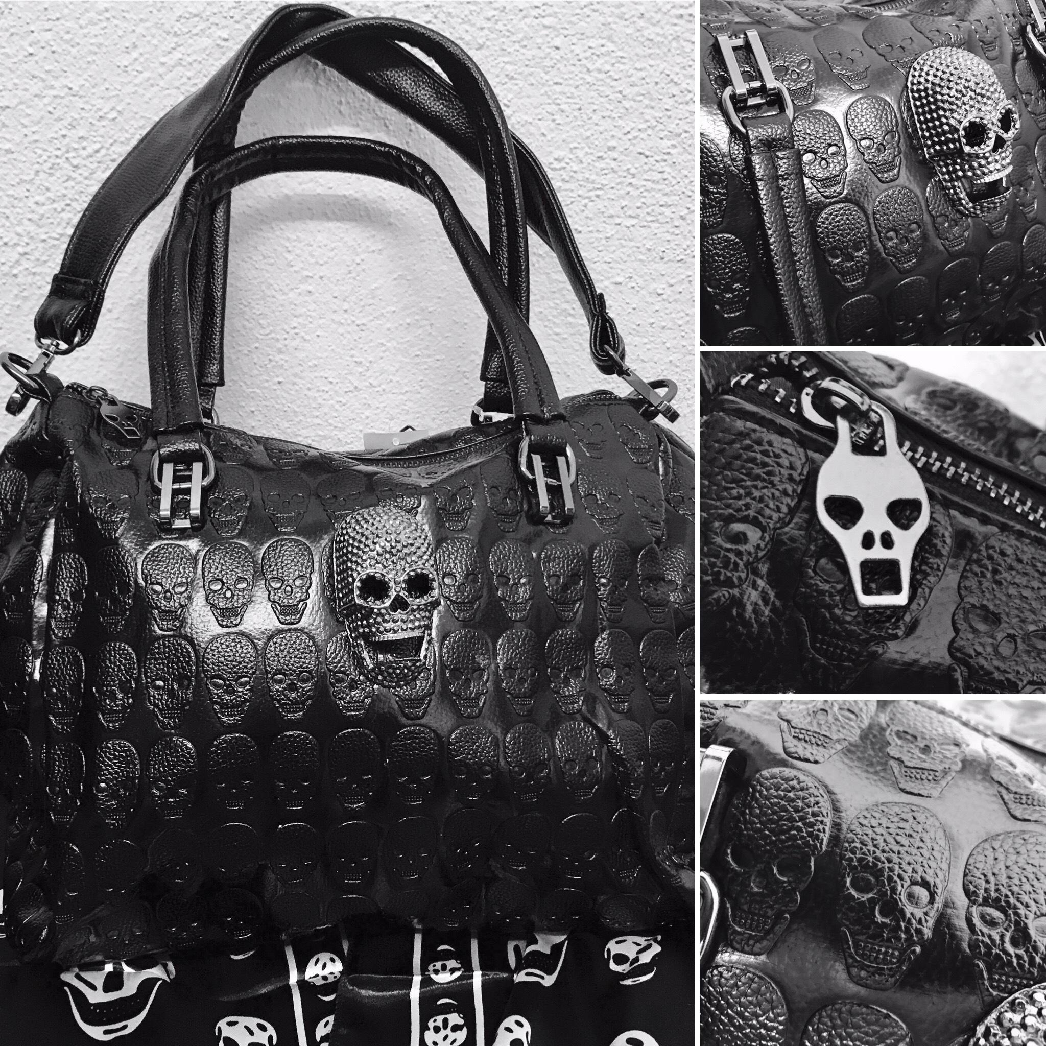 Details zu Totenkopf Tasche Koffertasche Gothic Bag Punk Fantasy Skull Deathhead black