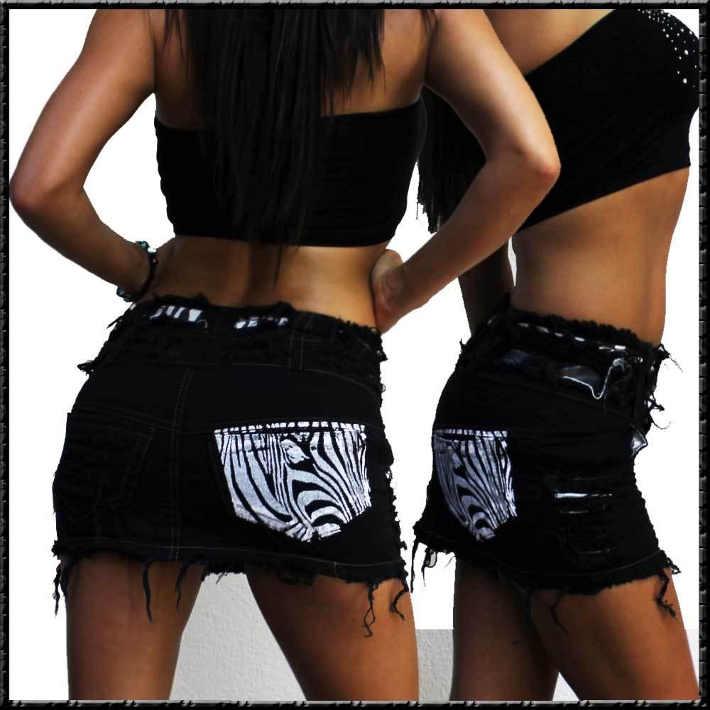 mini jeans rock schwarz mit kunstleder einsatz und zebra print crazy vintage. Black Bedroom Furniture Sets. Home Design Ideas